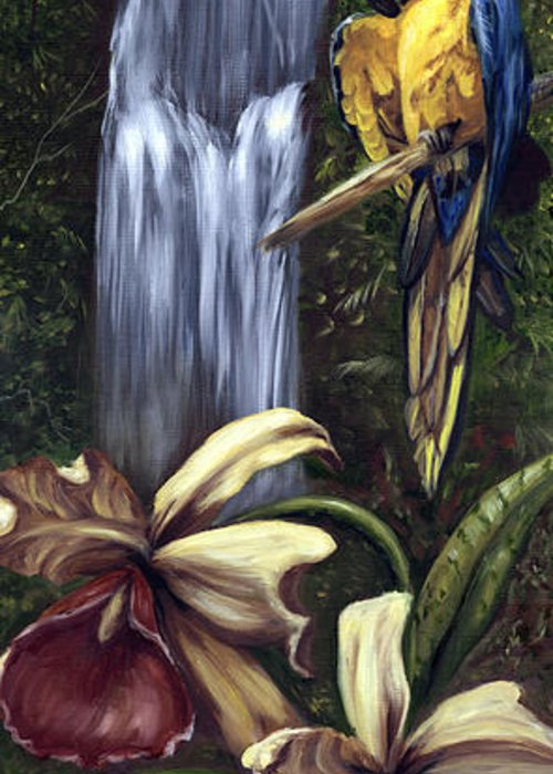 Birds Greeting Card featuring the painting Guardian of the Falls by Anne Kushnick