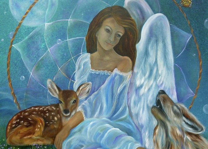 Angel Greeting Card featuring the painting Guardian Of Truth by Sundara Fawn