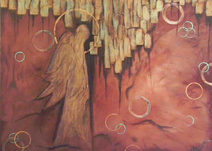 Angel Greeting Card featuring the painting Guardian by Patti Spires Hamilton