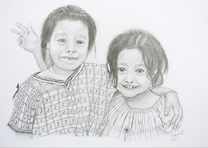 Guatemalan Girls Greeting Card featuring the drawing Guatemalan Friends by Gregory Hayes