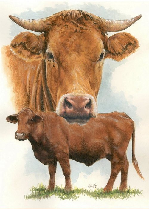 Cow Greeting Card featuring the mixed media Guernsey by Barbara Keith
