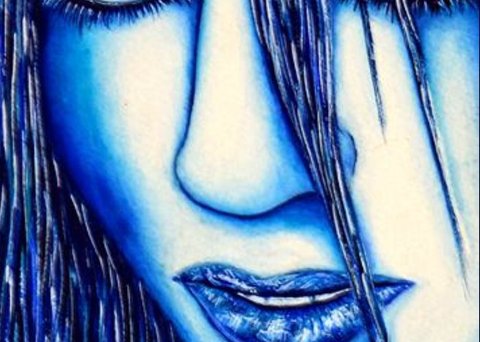80's Greeting Card featuring the mixed media Guess U Like Me In Blue by Joseph Lawrence Vasile