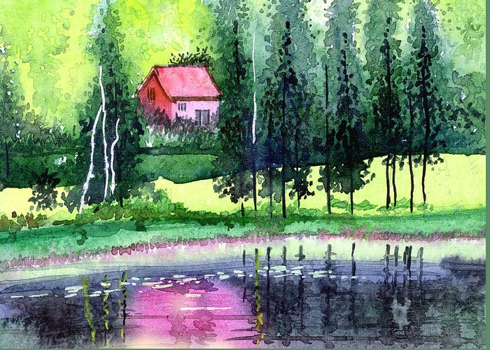 Landscape Greeting Card featuring the painting Guest House by Anil Nene