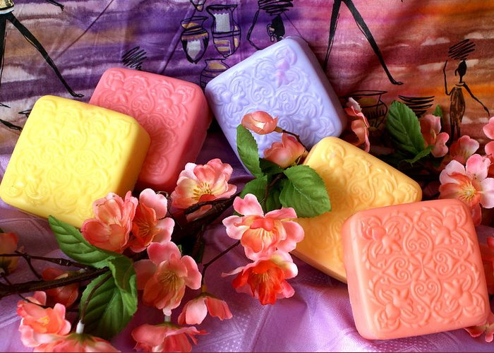 Product Greeting Card featuring the photograph Guest Soaps by Sonja Anderson