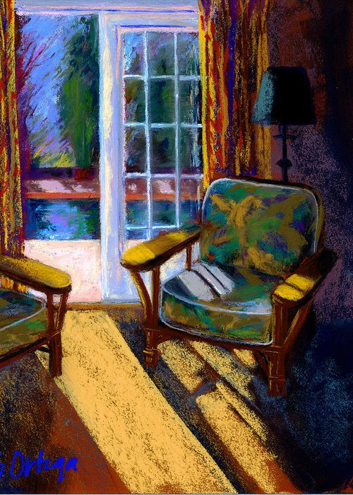 Interior Greeting Card featuring the pastel Guesthouse In Santa Fe by Sandra Ortega