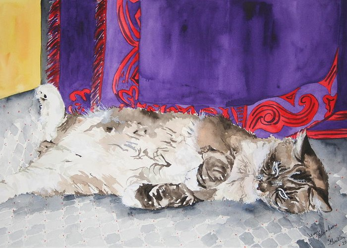 Cat Greeting Card featuring the painting Guilley by Jean Blackmer