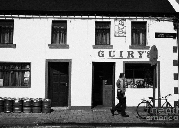 Europe Greeting Card featuring the photograph Guirys Irish Pub Foxford County Mayo Ireland by Joe Fox