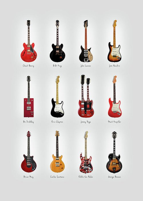 Fender Stratocaster Greeting Card featuring the photograph Guitar Icons No1 by Mark Rogan
