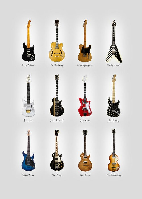 Fender Stratocaster Greeting Card featuring the photograph Guitar Icons No2 by Mark Rogan