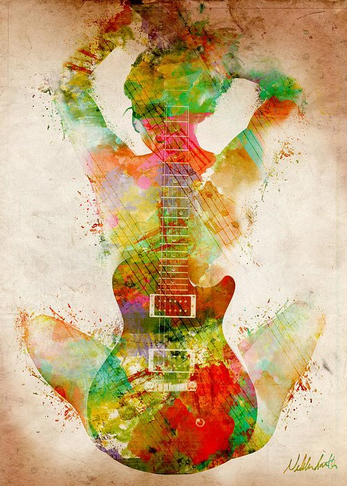 Guitar Greeting Card featuring the digital art Guitar Siren by Nikki Smith