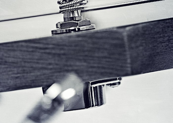 Black Greeting Card featuring the photograph guitar V by Priska Wettstein