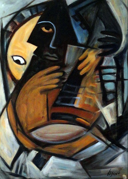 Cubism Greeting Card featuring the painting Guitarist by Valerie Vescovi