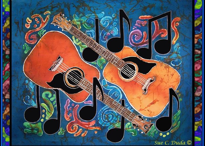 Guitar Greeting Card featuring the painting Guitars - Bordered by Sue Duda