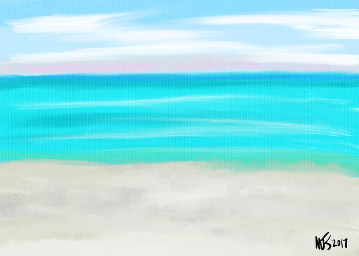 Beach Greeting Card featuring the digital art Gulf Beach by Michael Kallstrom