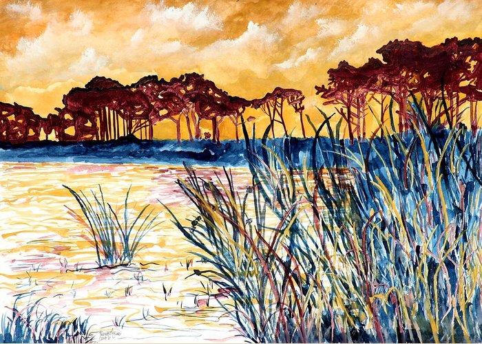 Gulf Coast Greeting Card featuring the painting Gulf coast seascape tropical art print by Derek Mccrea