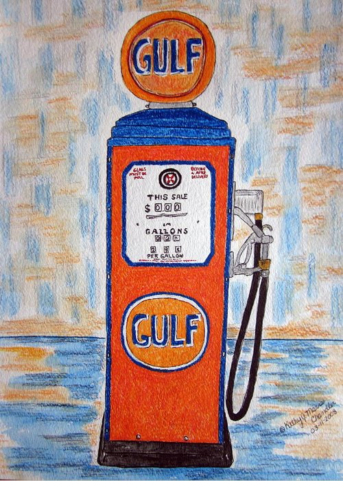 Vintage Greeting Card featuring the painting Gulf Gas Pump by Kathy Marrs Chandler