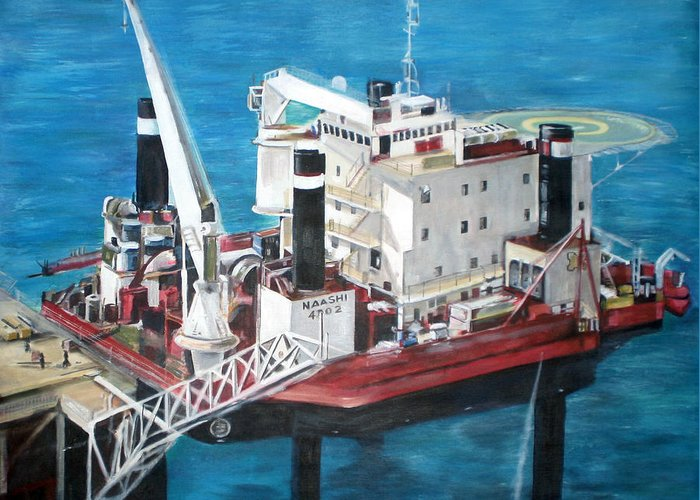Greeting Card featuring the painting Gulf Marine Services - Naashi by Fiona Jack