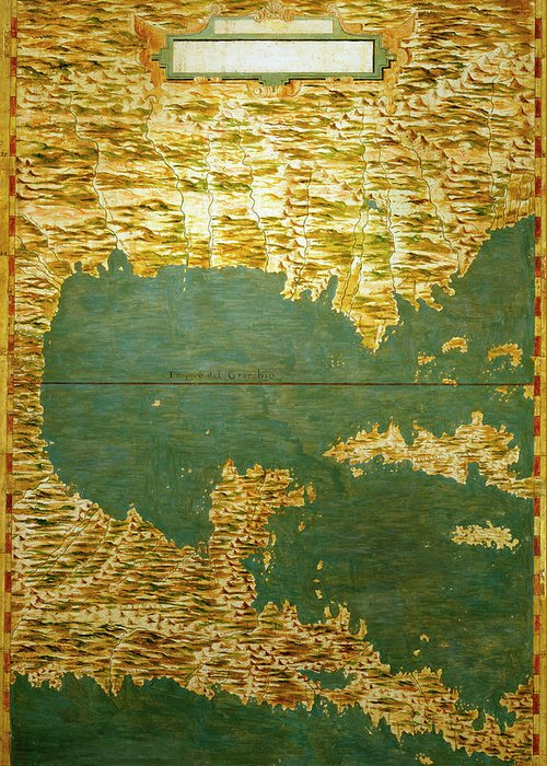 Map Greeting Card featuring the painting Gulf Of Mexico, States Of Central America, Cuba And Southern United States by Italian painter of the 16th century