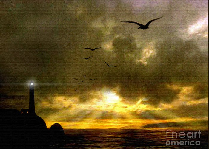 Seascape Greeting Card featuring the painting Gull Flight by Robert Foster
