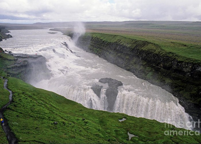 Background People Greeting Card featuring the photograph Gullfoss A Powerful Waterfall In The Canyon Of The Hvita River by Sami Sarkis