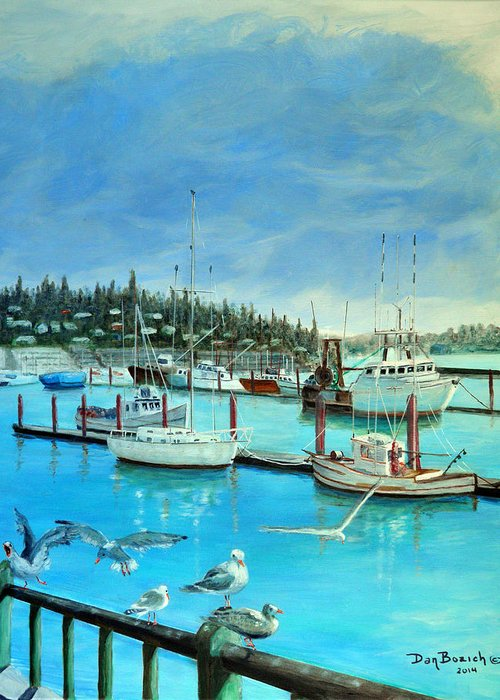 Seagulls Greeting Card featuring the painting Gulls at Newport Harbor by Dan Bozich
