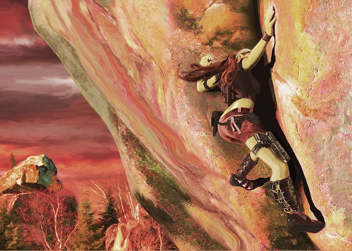 Rock Climbing Greeting Card featuring the painting Gun Girl Climber by Rick Ritchie