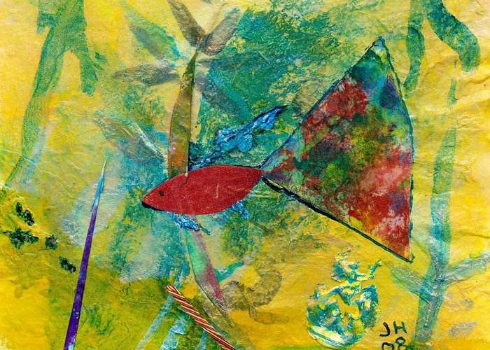 Abstract Art For Sale Greeting Card featuring the painting Guppy by Jerry Hanks
