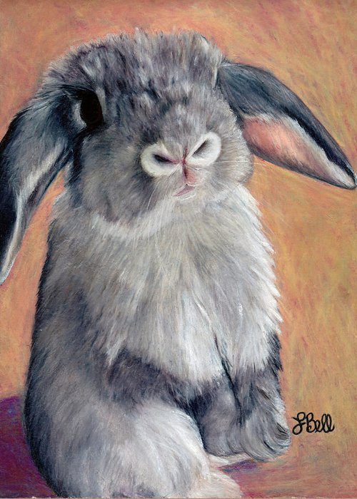 Rabbit Greeting Card featuring the painting Gus by Laura Bell