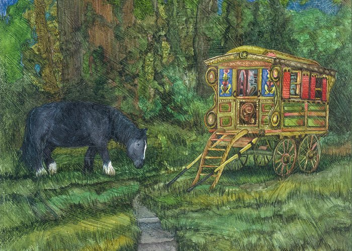 Gypsy Wagon Art Greeting Card featuring the painting Gwendolyn's Wagon by Casey Rasmussen White