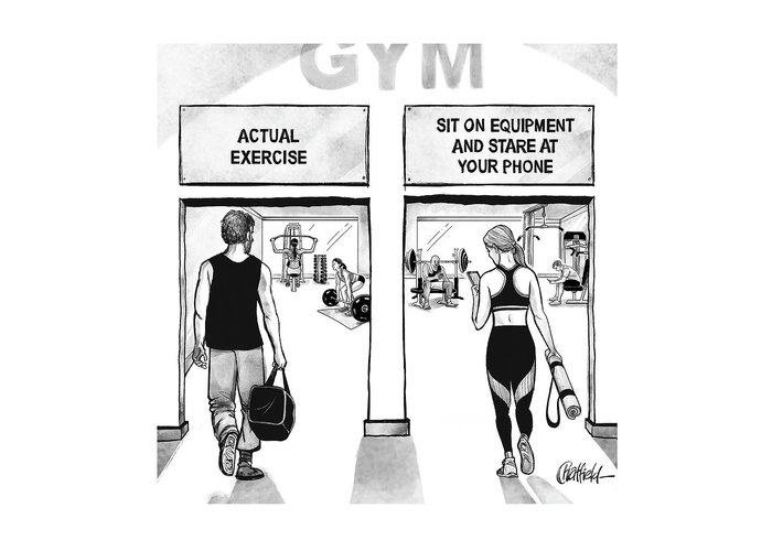 Gym Greeting Card featuring the drawing Gym by Jason Chatfield and Scott Dooley