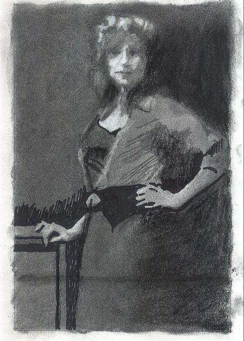 Figure Greeting Card featuring the drawing Gypsy A Study by Robert Bissett