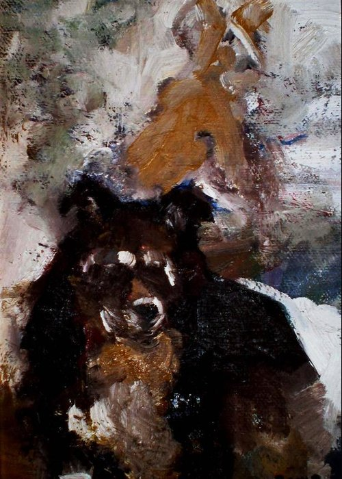 Dog Figurative Impressionistic Greeting Card featuring the painting Gypsy Dog by Renee Rowe