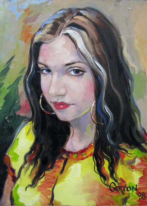 Gypsy Greeting Card featuring the painting Gypsy Girl by Jerrold Carton