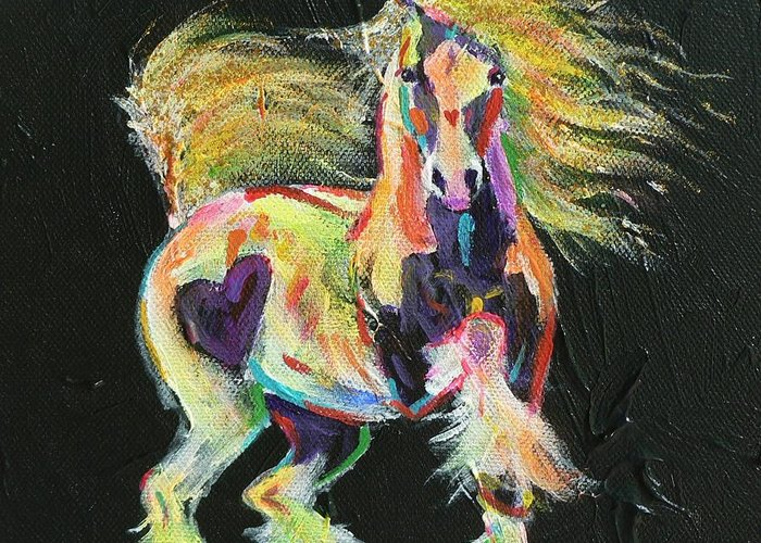 Gypsy Horse Pony Pinto Coloured Equine Cob Vanner Love Heart Rainbow Fluoro Greeting Card featuring the painting Gypsy Gold Pony by Louise Green