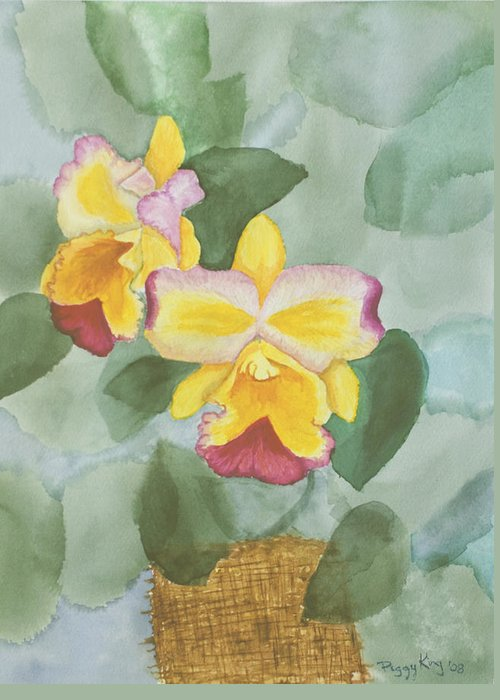 Orchids Greeting Card featuring the painting Gypsy Orchids by Peggy King