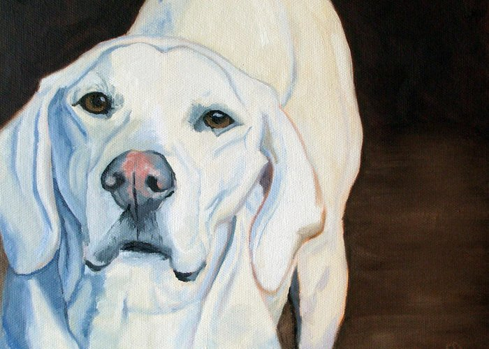 Yellow Labrador Retriever Portrait Greeting Card featuring the painting Gypsy by Susan Garriques