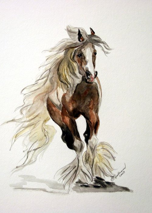 Gypsy Vanner Horse Watercolor Painting Greeting Card featuring the painting Gypsy Vanner Stallion by BJ Redmond