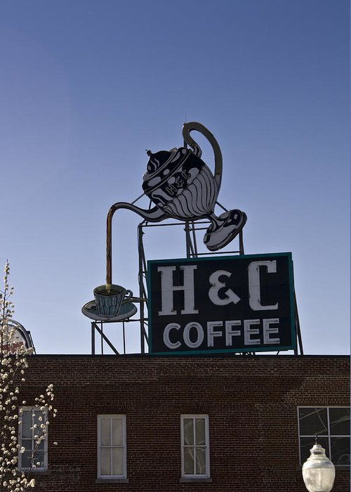 Neon Greeting Card featuring the photograph H And C Coffee Sign Roanoke Virginia by Teresa Mucha