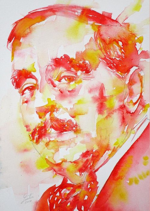 H. G. Wells Greeting Card featuring the painting H. G. Wells - Watercolor Portrait by Fabrizio Cassetta