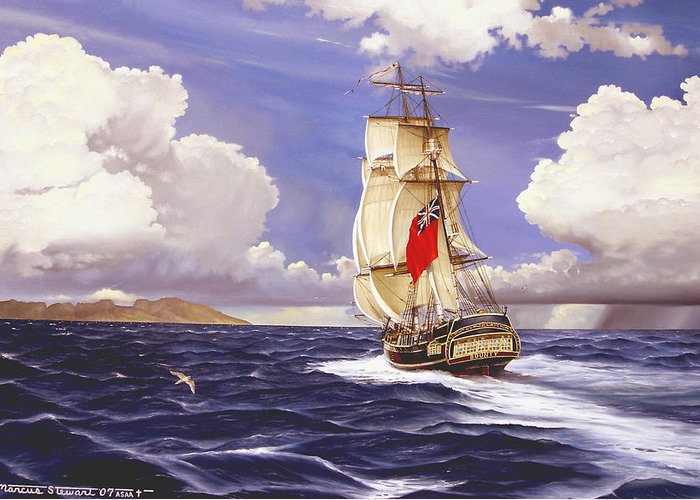 Marine Greeting Card featuring the painting H. M. S. Bounty At Tahiti by Marc Stewart