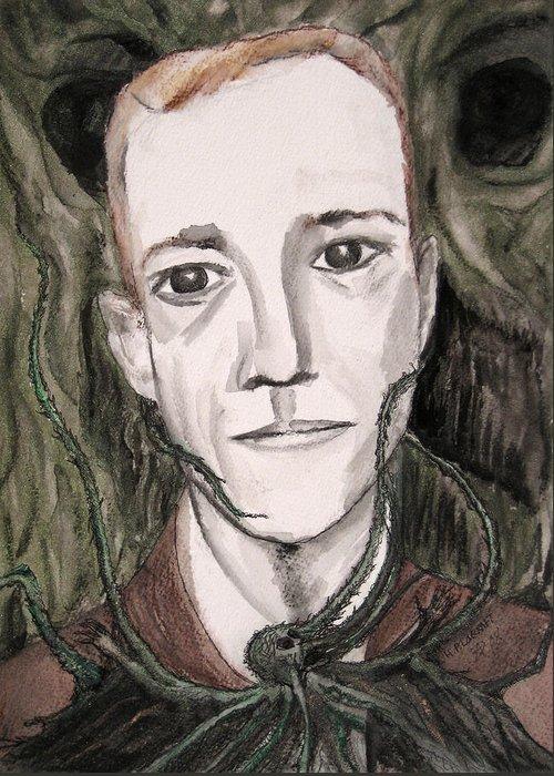 Artist Cthulhu Darkest Darkestartist Fiction H Horror Hp Lovecraft Macabre Man Mythos P Painting Por Greeting Card featuring the painting H P Lovecraft by Darkest Artist