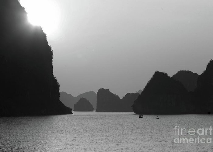 Ha Long Bay Greeting Card featuring the photograph Ha Long Bay Sunset Black by Chuck Kuhn
