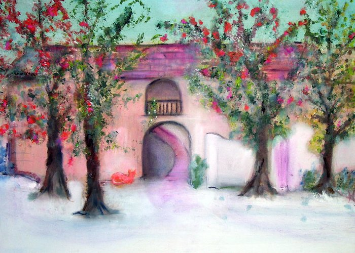 Hacienda Greeting Card featuring the painting Hacienda by Michela Akers