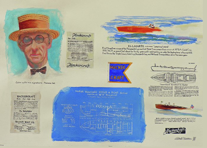 Paintings Greeting Card featuring the painting Hacker Boat Poster by Robert P Hedden