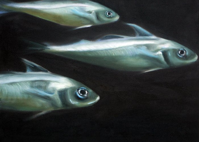 Haddock Greeting Card featuring the painting Haddock by Fiona Jack