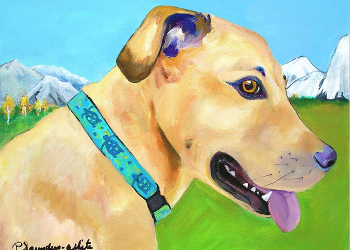 Whippet Greeting Card featuring the painting Hadley by Pat Saunders-White
