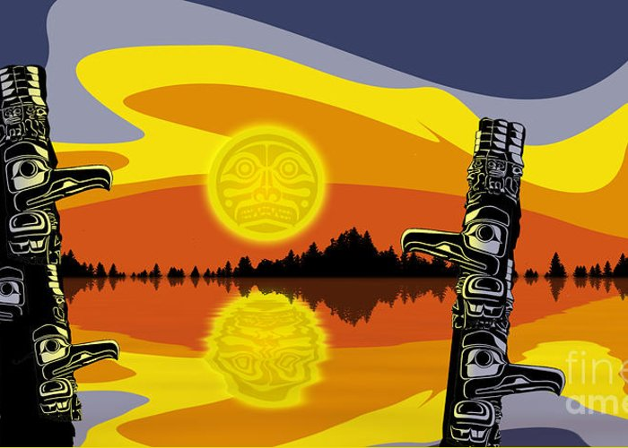 Haida Greeting Card featuring the digital art Haida Sunset by Christopher Williams