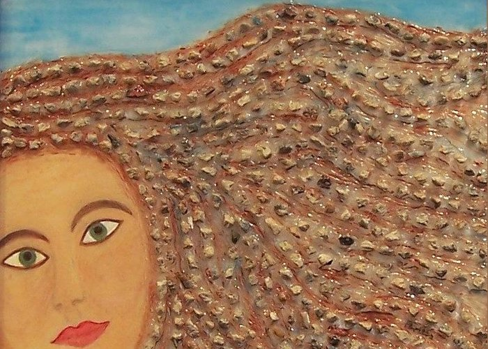 Original Fine Art Greeting Card featuring the painting Hair by Anneliese Fritts