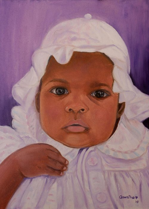 Haiti Greeting Card featuring the painting Haitian Baby Orphan by Quwatha Valentine