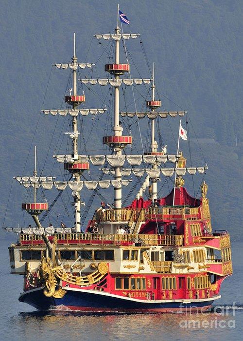Pirate Ship Greeting Card featuring the photograph Hakone Sightseeing Cruise Ship Sailing On Lake Ashi Hakone Japan by Andy Smy